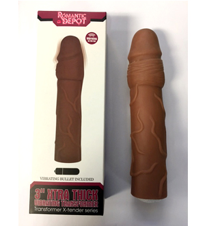 VIP 3 inch Vibrating Penis Extension (Chocolate)